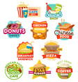 fast food sweets and drinks icons vector image vector image