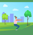 fitness activity in city park woman doing squats vector image vector image