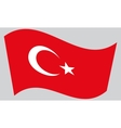 Flag of Turkey waving on gray background vector image