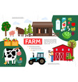 flat farming and agriculture infographic template vector image vector image