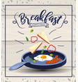 fried eggs with sausages breakfast in the pan vector image
