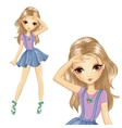 Girl In School Denim Skirt vector image vector image