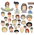 Hand drawn people crowd doodle collection of vector image vector image