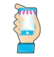 hand holding a smartphone vector image vector image