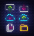 internet and computer neon signs collection vector image