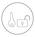 key and lock icon black color in circle vector image vector image
