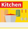 Kitchen interior flat design vector image
