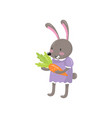 little bunny girl standing and holding orange vector image