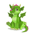little cute cartoon green baby dragon vector image vector image