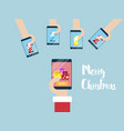 merry christmas on mobile smartphone vector image vector image