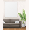 mockup of interior with sofa palm tree and poster vector image vector image