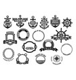nautical and marine symbols icons set vector image vector image