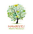 nowruz holiday greeting card for your design vector image