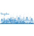 Outline Bangalore Skyline with Blue Buildings vector image vector image