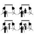 photographer studio photography shoot stick vector image vector image
