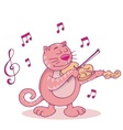 pink cat with violin vector image vector image