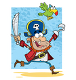 Pirate Holding Up A Sword And Hook With Parrot vector image