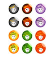 set of dead skulls on halloween stickers vector image