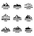 set of mountain icons isolated on light vector image vector image