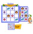 shapes sudoku kids owls game vector image vector image