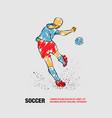 soccer player kicks ball back view vector image vector image