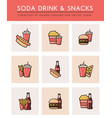 soft soda drink and different fast food vector image vector image