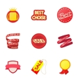 Sticker icons set cartoon style vector image vector image