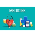 Syringe and medicine cross heart tablet vector image vector image