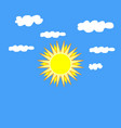 the sun and cloudlet sign on blue background vector image vector image