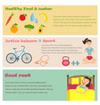 three banners of healthy lifestyle icons vector image