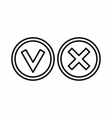 Tick and cross circle shape icon outline style vector image vector image