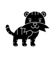 tiger cute icon black sign vector image
