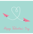 Two flying paper planes Heart Valentines Day card vector image vector image
