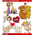 valentine cartoon love set vector image vector image