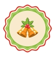 Wavy Christmas Label Icon Flat with Bells and vector image