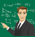 young male math teacher with piece of chalk vector image