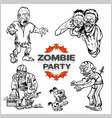 zombie comic set - cartoon zombie vector image vector image