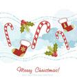 Ornate Christmas card with xmas stocking vector image