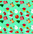 merry christmas seamless pattern with new years vector image