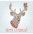 Christmas vintage postcard with Santa deer vector image