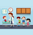 a doctor helping kids vector image vector image