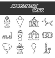 Amusement park icon set vector image