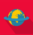 around the earth icon flat style vector image