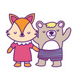 bashower cute little female fox and bear with vector image