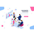 business flat isometric banner vector image