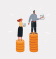 cartoon income inequality man and vector image vector image