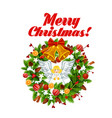 christmas tree wreath with xmas bell and bow icon vector image