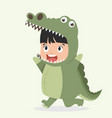 cute kid crocodile costume cartoon vector image vector image