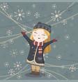 cute winter girl card vector image vector image