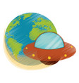 drawing earth world ufo image vector image vector image